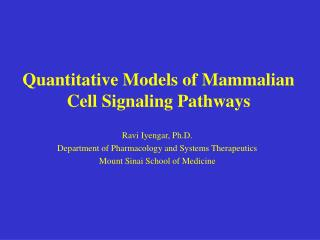 Quantitative Models of Mammalian Cell Signaling Pathways