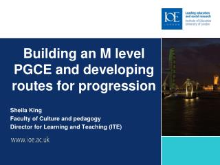 Building an M level PGCE and developing routes for progression