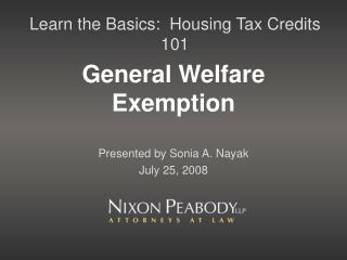 General Welfare Exemption
