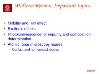 Midterm Review: Important topics