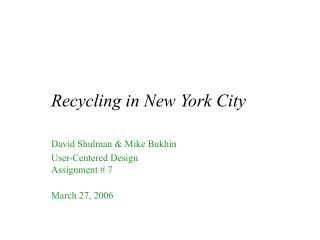 Recycling in New York City