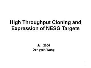High Throughput Cloning and Expression of NESG Targets