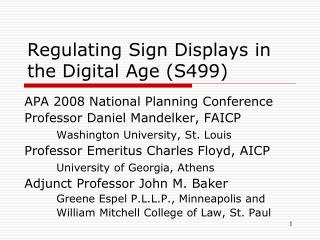 Regulating Sign Displays in the Digital Age (S499)