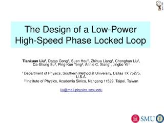 The Design of a Low-Power High-Speed Phase Locked Loop