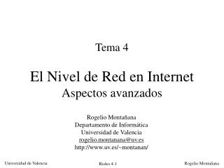 Tema 4 El Nivel de Red en Internet Aspectos avanzados