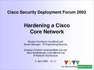 Hardening a Cisco  Core Network