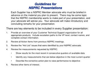 Guidelines for NSPRC Presentations