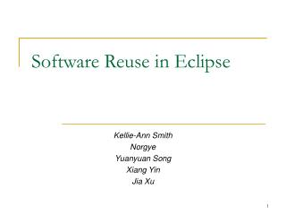 Software Reuse in Eclipse