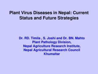 Plant Virus Diseases in Nepal: Current Status and Future Strategies