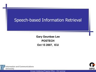 Speech-based Information Retrieval