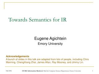 Towards Semantics for IR