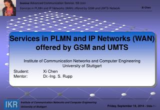 Services in PLMN and IP Networks (WAN) offered by GSM and UMTS