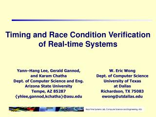 Timing and Race Condition Verification of Real-time Systems