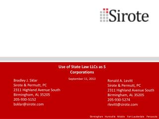 Use of State Law LLCs as S Corporations September 11, 2013