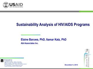 Sustainability Analysis of HIV/AIDS Programs