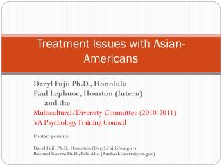 Treatment Issues with Asian-Americans