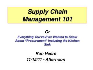 Supply Chain Management 101