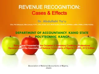 REVENUE RECOGNITION: Cases & Effects