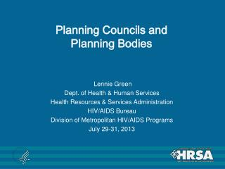 Planning Councils and Planning Bodies