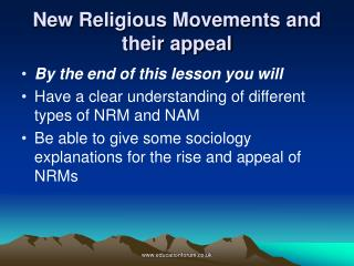 New Religious Movements and their appeal