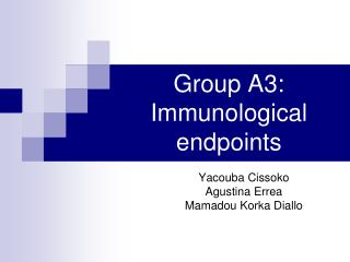Group A3: Immunological endpoints