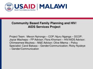 Community Based Family Planning and HIV/ AIDS Services Project