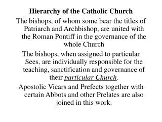 Hierarchy of the Catholic Church