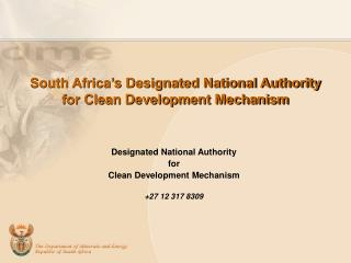 South Africa's Designated National Authority for Clean Development Mechanism