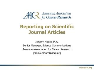 Reporting on Scientific  Journal Articles