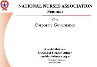 NATIONAL NURSES ASSOCIATION Seminar