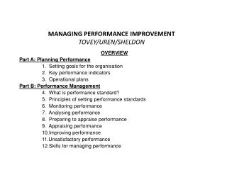 MANAGING PERFORMANCE IMPROVEMENT TOVEY/UREN/SHELDON