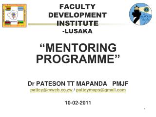 FACULTY DEVELOPMENT INSTITUTE -LUSAKA