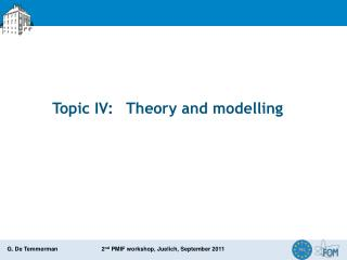 Topic IV:	 Theory and  modelling