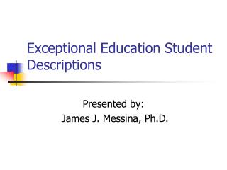 Exceptional Education Student Descriptions