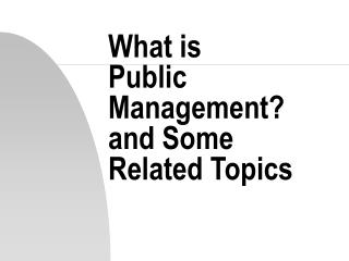 What is  Public Management? and Some  Related Topics