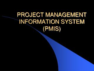 PROJECT MANAGEMENT INFORMATION SYSTEM (PMIS)