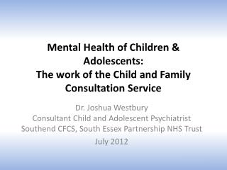 Mental Health of Children & Adolescents: The work of the Child and Family Consultation Service