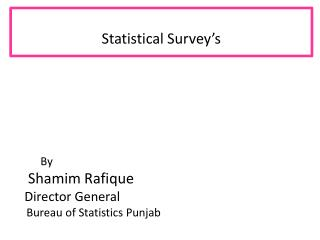 Statistical Survey's