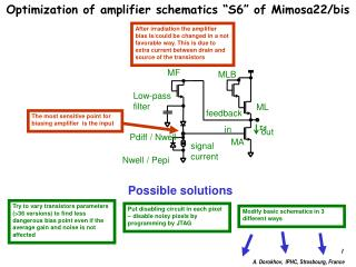 "Optimization of amplifier schematics ""S6"" of Mimosa22/bis"