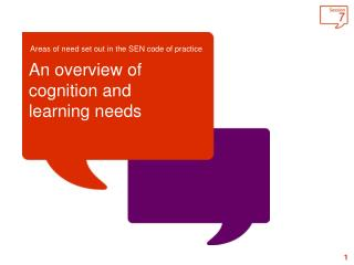 An overview of cognition and learning needs
