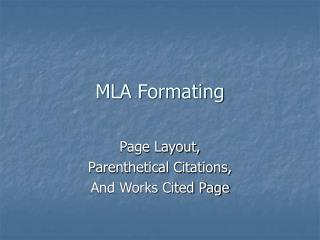 MLA Formating