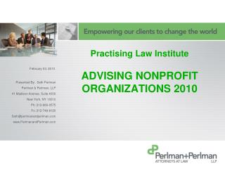 Practising Law Institute ADVISING NONPROFIT ORGANIZATIONS 2010