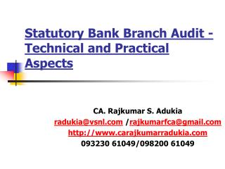 Statutory Bank Branch Audit -  Technical and Practical  Aspects