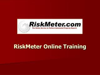 RiskMeter Online Training
