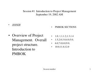 Session #1  Introduction to Project Management September 19, 2002 AM