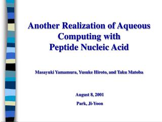 Another Realization of Aqueous Computing with  Peptide Nucleic Acid