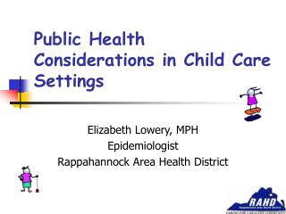 Public Health Considerations in Child Care Settings