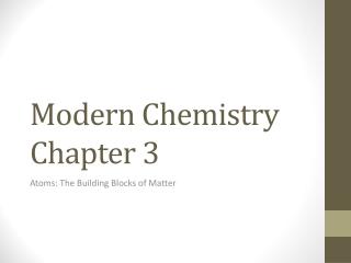 Modern Chemistry Chapter 3