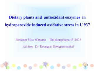 Dietary plants and  antioxidant enzymes  in  hydroperoxide-induced oxidative stress in U 937