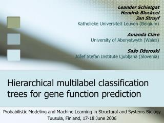 Hierarchical multilabel classification trees for gene function prediction